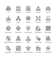 project management line icons set 3 vector image