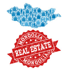 Real estate collage of mosaic map of mongolia and vector