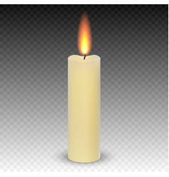 realistic paraffin burning candles isolated vector image