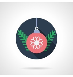 Red Xmas ball round flat icon vector image