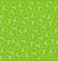 seamless pattern with line apples on green vector image