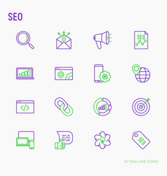 seo and development thin line icons set vector image