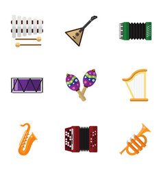 Set of 9 editable melody flat icons includes vector