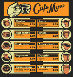 Set of coffee menu with a cups of coffee drinks 1 vector
