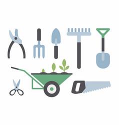 set of gardening instruments vector image