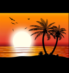 Silhouette of palm tree on beach vector