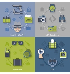 Spy gadgets 4 flat icons composition vector