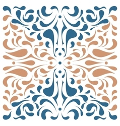 Square dual color ornament with blue and beige vector