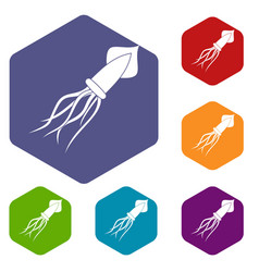 squid icons set hexagon vector image
