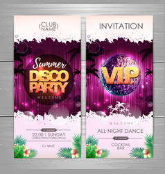 Summer party poster design on neon background vector