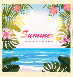 summer retro poster background flowers vector image
