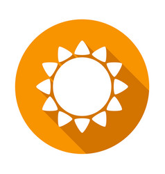 sun flat icon white color with long shadow on vector image