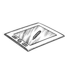 tablet with stylus digital gadget retro vector image