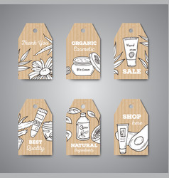 Tags with cosmetic bottles vector