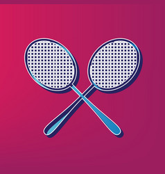 tennis racquets sign blue 3d printed icon vector image