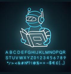 Text reading bot neon light icon screen reader vector