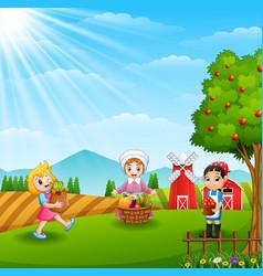 The farmers gathered in farm vector
