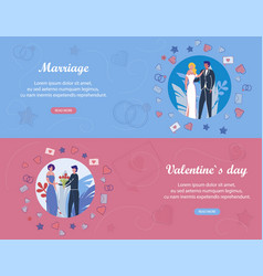 Valentines day and marriage events services set vector