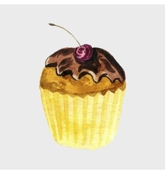 Watercolor drawing cupcake vector