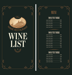 Wine menu with price list and vineyard scenery vector