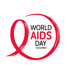 world aids day circle frame with red ribbon vector image