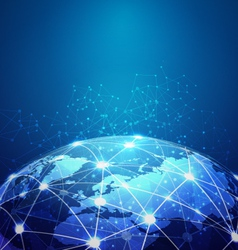 World mesh digital communication and technology vector