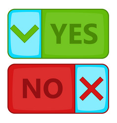 yes and no button icon cartoon style vector image