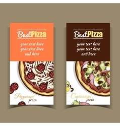 Banners pepperoni capricciosa pizza vector