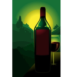 bottle of wine in countryside vector image vector image