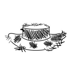 monochrome silhouette of old straw hat vector image