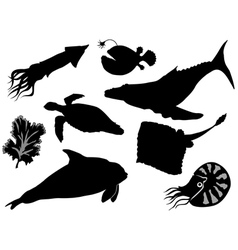 set of silhouettes of sea animals vector image