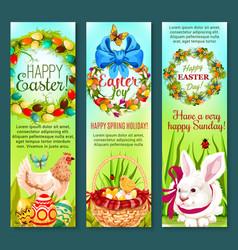 easter holiday egg rabbit chicken banner set vector image vector image