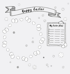 hand drawn ink easter plans and frames vector image