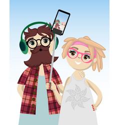 stylish young couple vector image
