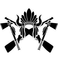 american indian headdress guns and tomahawks vector image vector image