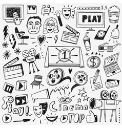 cinema doodles set vector image vector image