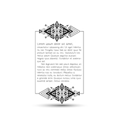 Citation text box tribal style frame with place vector