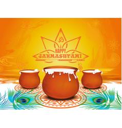festive background for krishna janmashtami vector image