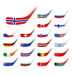 Ice hockey sticks with flags vector image vector image