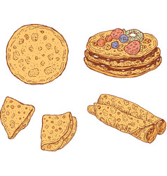 pancakes set collection of doodle cartoon vector image