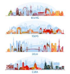 skyline silhouette set beijing tokyo new delhi vector image vector image