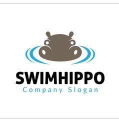 Swim hippo Design vector image vector image