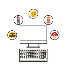 videogame and computer design vector image