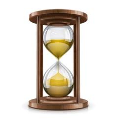 vintage hourglass in wooden vector image vector image
