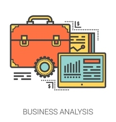 Business analysis line infographic vector
