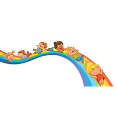 children ride on a rainbow vector image