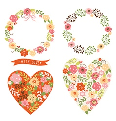 floral wreath and heart vector image vector image