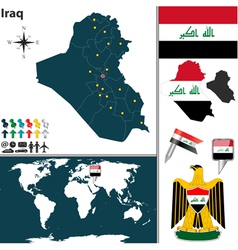 Iraq map world vector image vector image