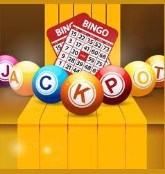 jackpot bingo balls over golden steps vector image vector image