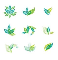 logo green set vector image vector image